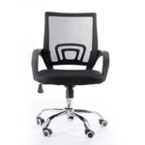 Cadeira Giratória Com Base Cromada - Preta - Mb-4005