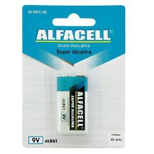 Bateria Alcalina 9V, Cartela Com 1 Pilha Alfacell - 6LR611B