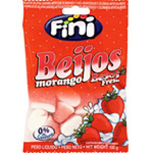Bala de Gelatina Beijos Morango 100g - Fini