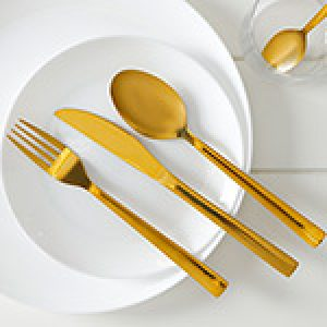 Jogo de Talheres Inox Dubai Gold 24 Peças - La Cuisine