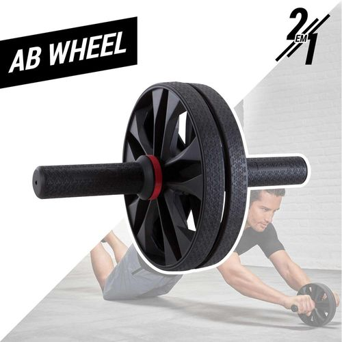 Roda 2 em 1 para Exercícios Abdominais - AB Wheel - AB WHEEL - RODA ABDOMINAL PRETA 2 EM 1 -  TAM. UNICO - PRODUÇÃO NACIONAL