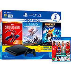Console Playstation 4 Hits 1TB Bundle 15 - Games Spider-Man: Goty + Horizon Zero Dawn: Complete Edition + Ratchet&Clank + Game EFootball PES 2021 - PS4