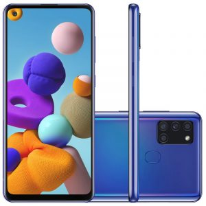 "Smartphone Samsung Galaxy A21s 6,5"" Dual Chip 64gb 4gb Ram Azul Octa"